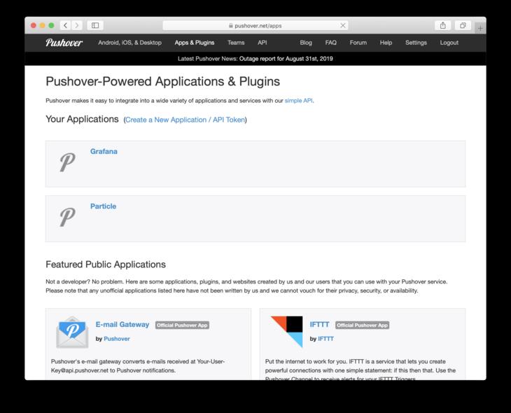 App/Plugins screen in Pushover