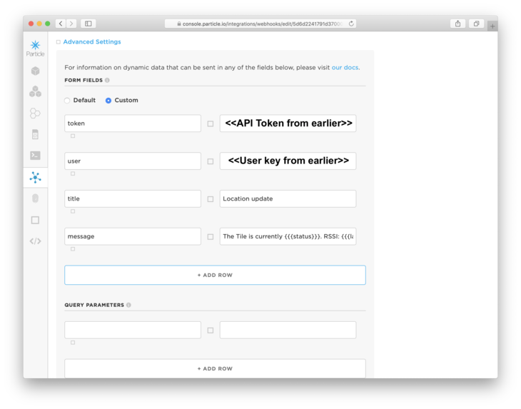 Setting the token and api key in Particle Webhook