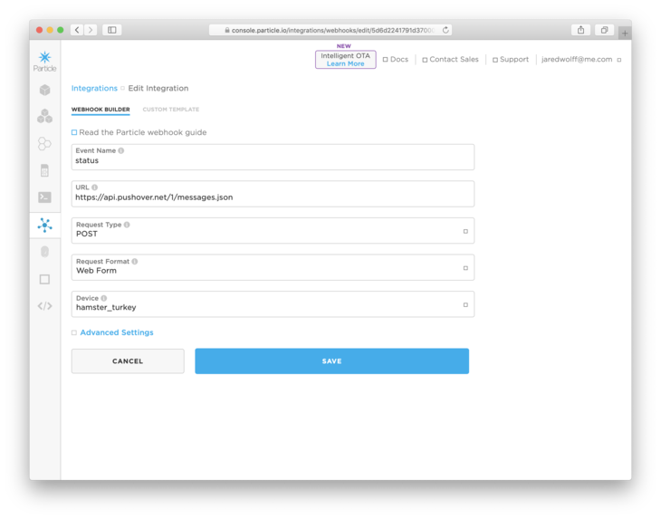 Particle console creating new Webhook
