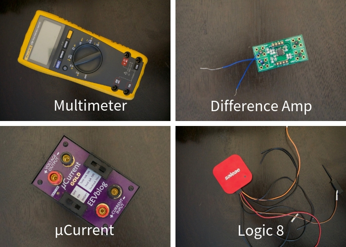 Multimeter, difference amp, µCurrent, Logic 8
