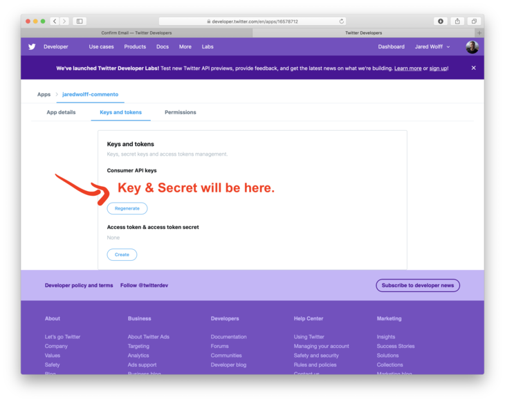 Get oauth key and secret