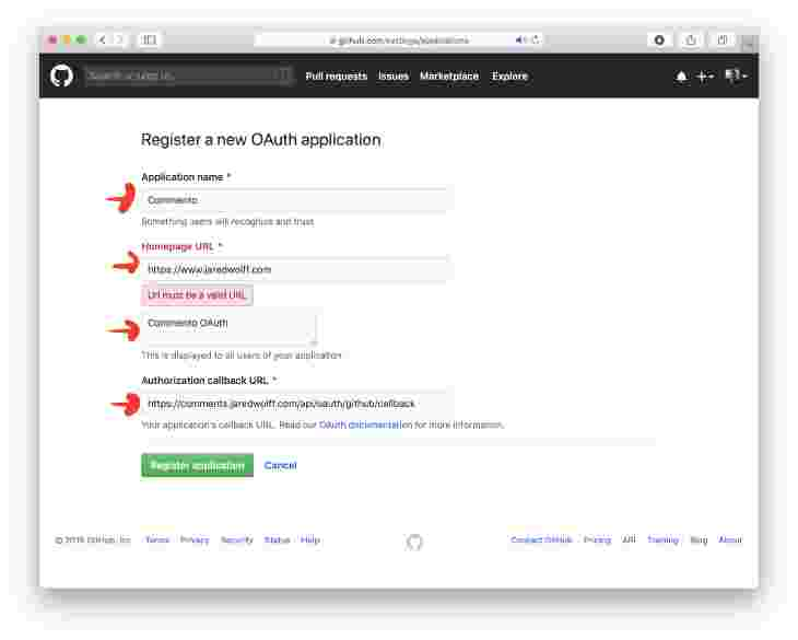 Register new OAuth application