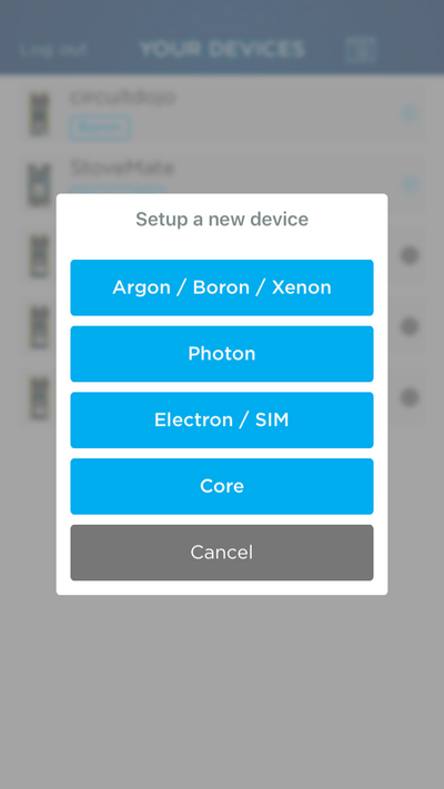 Particle Setup App Board Choice