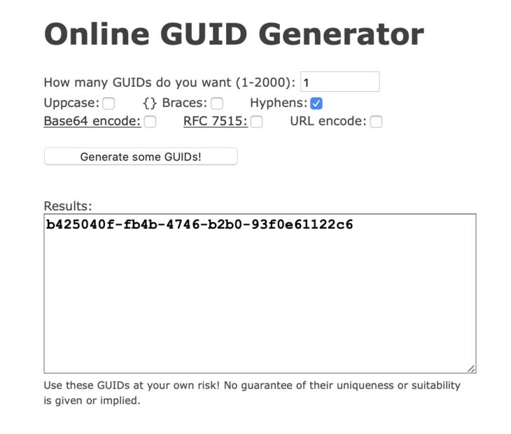 Online GUID Generator