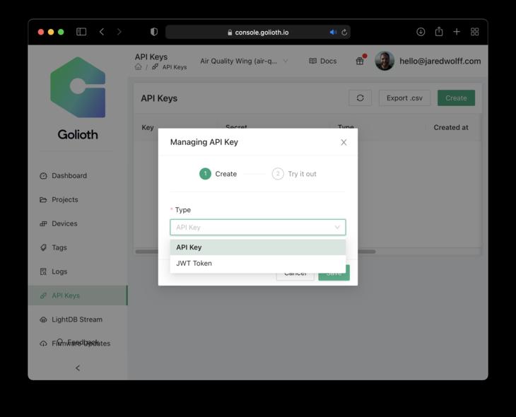 Choose API key instead of JWT Token