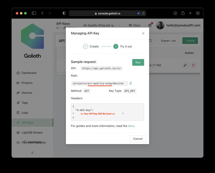 API Key Created. Inside Managing API Key response