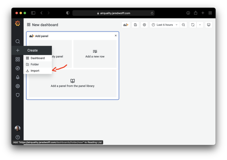 Create new dashboard by importing
