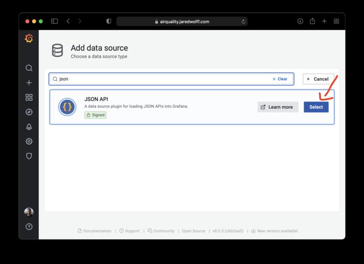 Create a JSON API data source