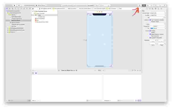 Library button in Xcode