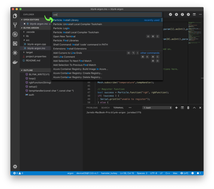 Install library in Visual Studio Code